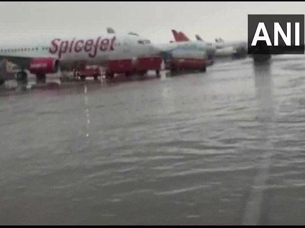 Waterlogging at Indira Gandhi International Airport (Terminal 3) after national capital received heavy rain