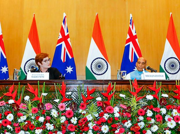 Union Defence Minister Rajnath Singh, External Affairs Minister Dr. S Jaishankar, Minister for Defence of Australia Peter Dutton and Minister for Foreign Affairs of Australia Marise Payne during a press interaction. (Photo: PTI)