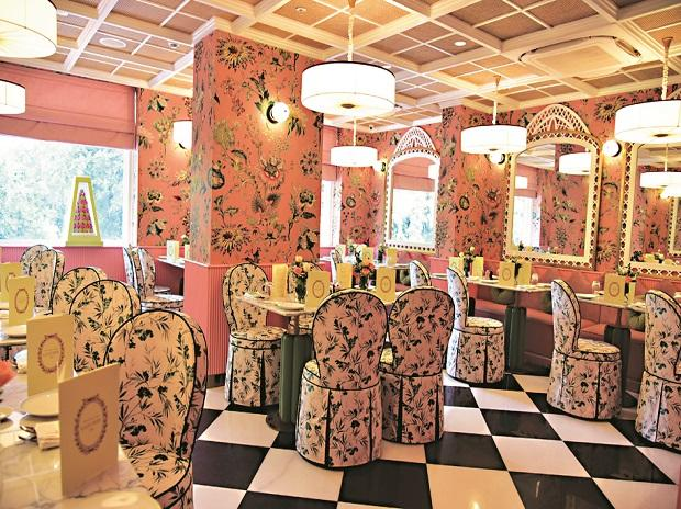 The interiors of the Ladurée's first salon de thé in India, an expansive store spread over three floors  in Khan Market, Delhi