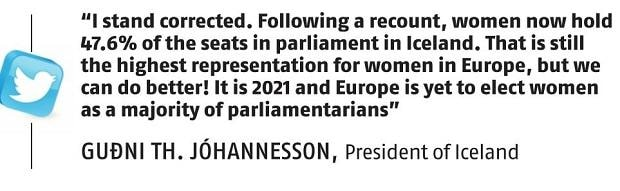 , Iceland misses out on Europe's first female-majority Parliament,