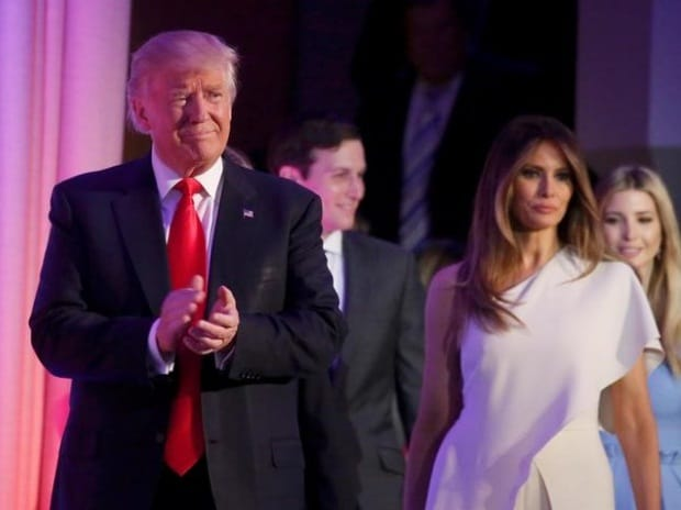 Republican U.S. president-elect Donald Trump stands wife Melania and family at his election night rally in Manhattan, New York