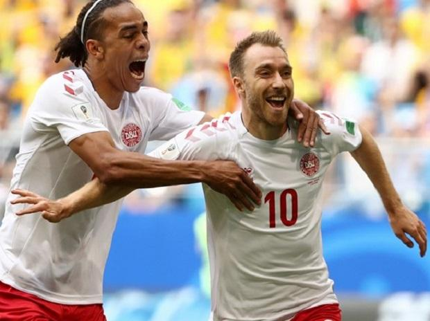 Denmark drew first blood with a phenomenal half-volley