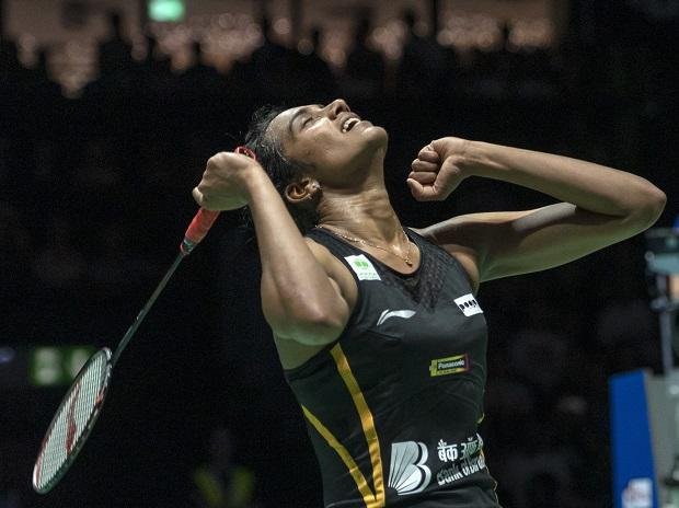 Pusarla V Sindhu cheers after winning her women's singles final match against Japan's Nozomi Okuhara at the BWF Badminton World Championships in Basel, Switzerland. File Photo: AP/PTI