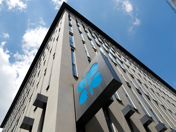 The logo of the Organization of the Petroleoum Exporting Countries (OPEC) is seen at OPEC's headquarters in Vienna, Austria
