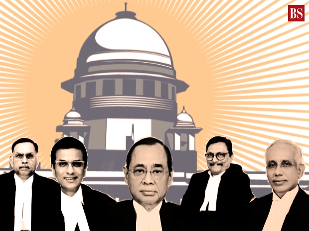 Five-judge Constitution Bench of Chief Justice of India Ranjan Gogoi (centre) and (from left) Justices Ashok Bhushan, D Y Chandrachud, Sharad Arvind Bobde and SA Nazeer