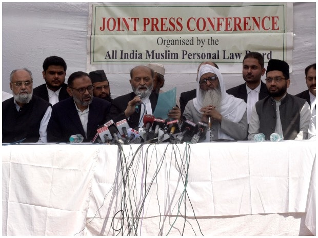 Members of All India Muslim Personal Law Board during the Press Conference after Supreme court Verdict on Ram Janam Bhumi in New Delhi on Saturday/PHOTO-DALIP KUMAR