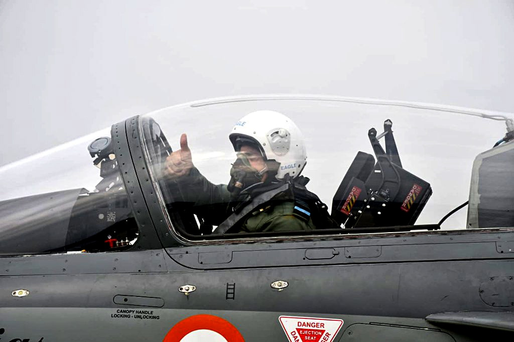 Chief of Air Staff Air Chief Marshal RKS Bhadauria flies the LCA Tejas fighter with 45 Squadron at Air Force Station, in Sulur on Wednesday.