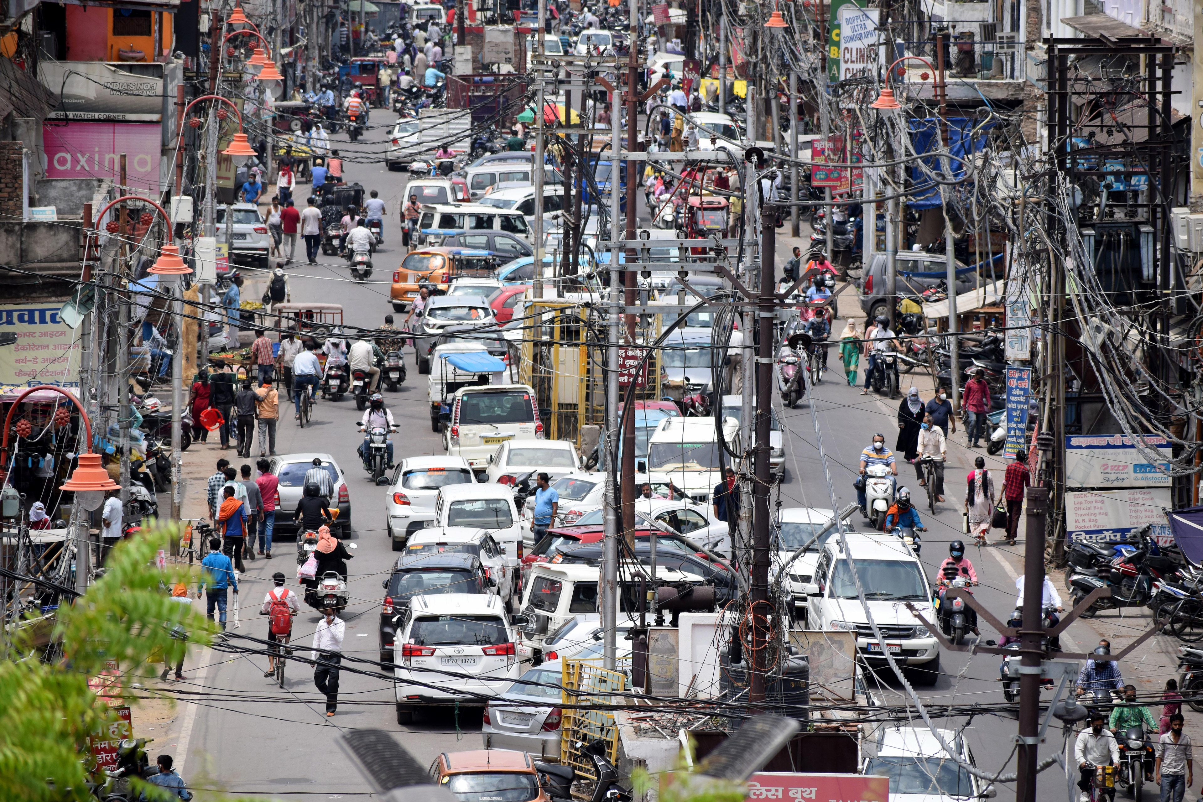Traffic seen on the raod after some relaxation during coronavirus lockdown, in Meerut.