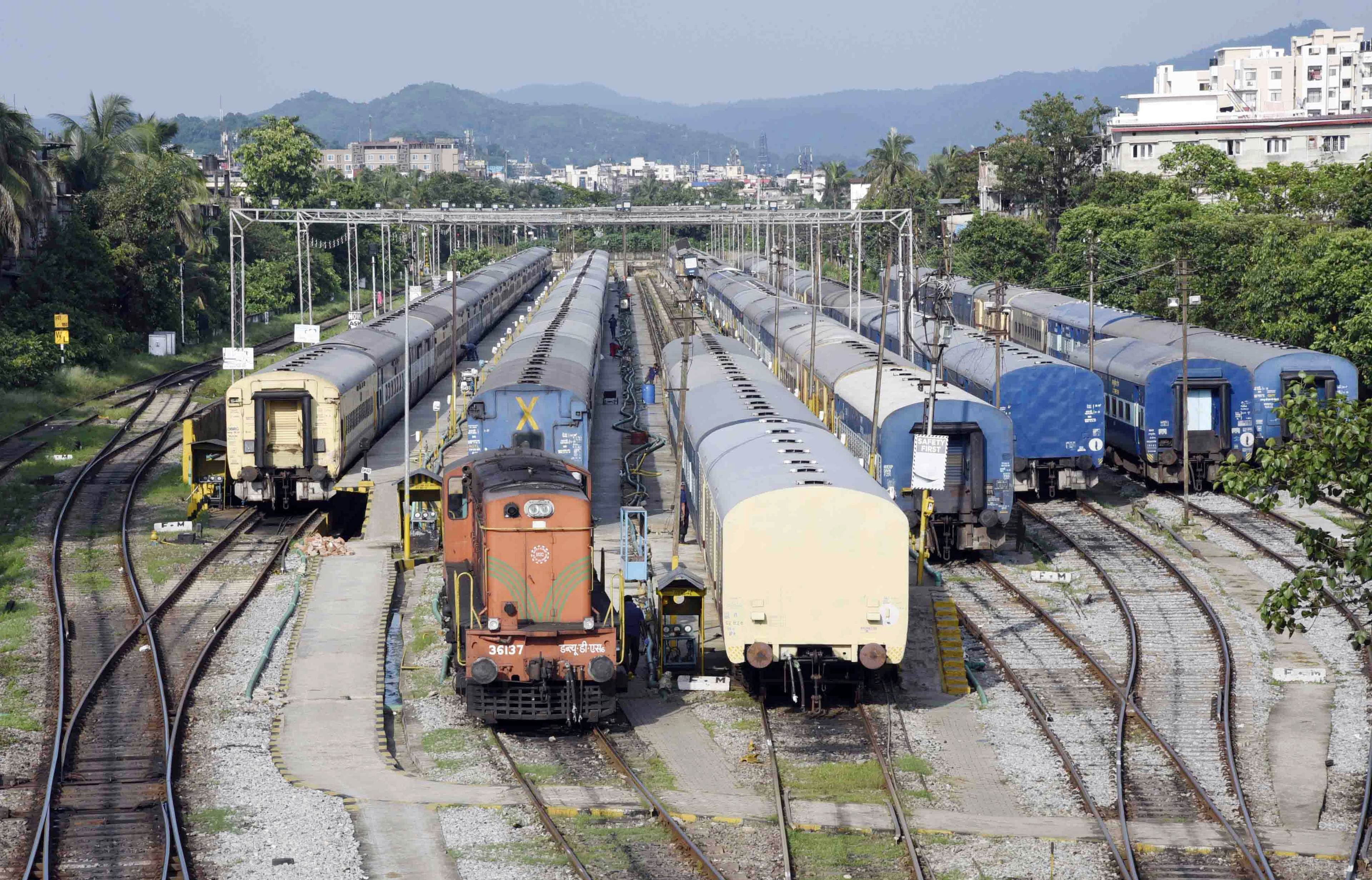 Trains are seen parked at a yard as the Assam government-imposed the complete lockdown to contain the spread of coronavirus, in Guwahati.