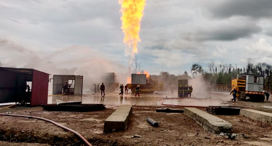 ONGC and Oil India Ltd workers continuously working at blowout well to get control of the fire at Baghjan in Tinsukia.