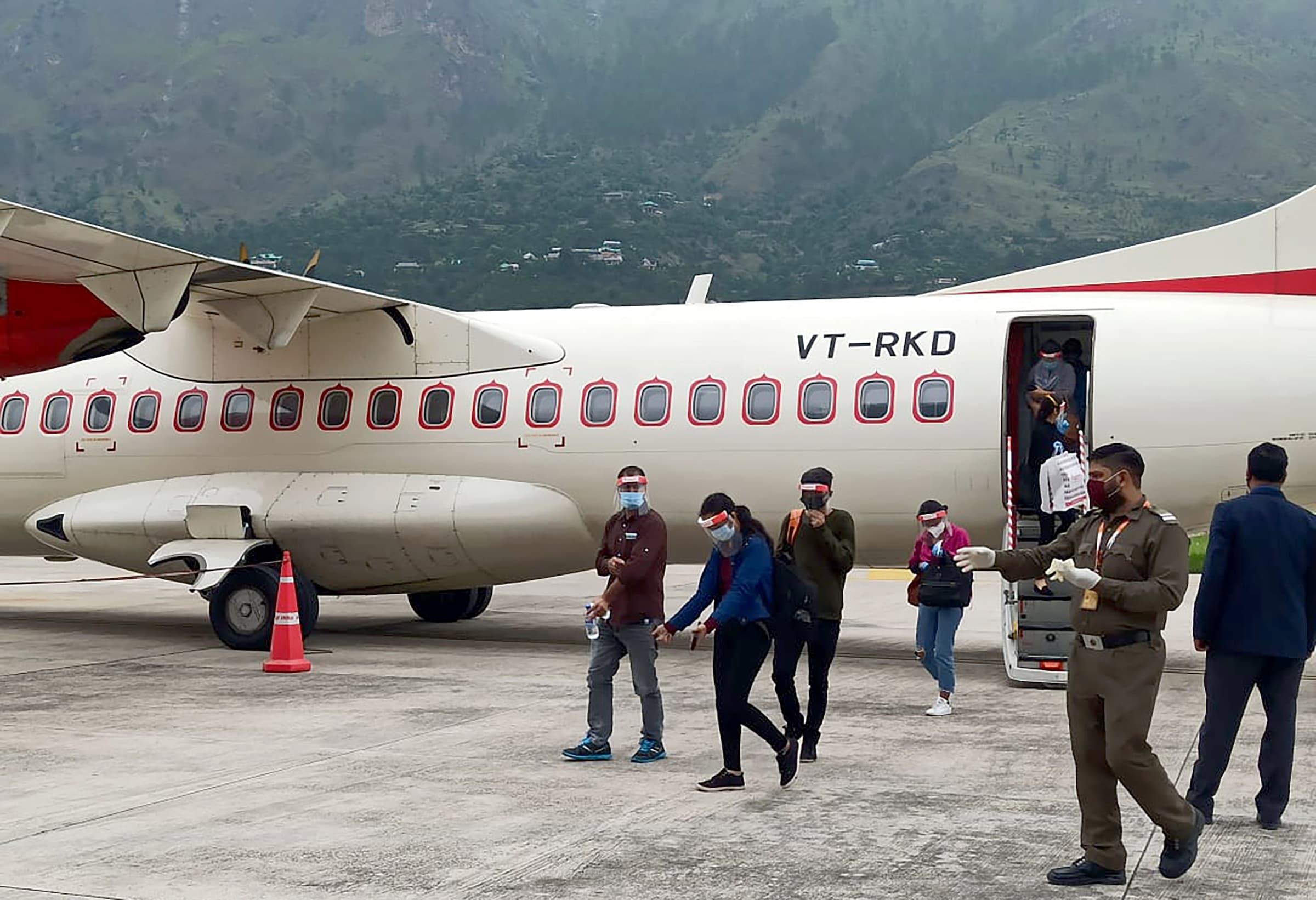 Flight services resume at Bhuntar Airport after four months during the Covid-19 pandemic in Kullu on Thursday. Photo: ANI