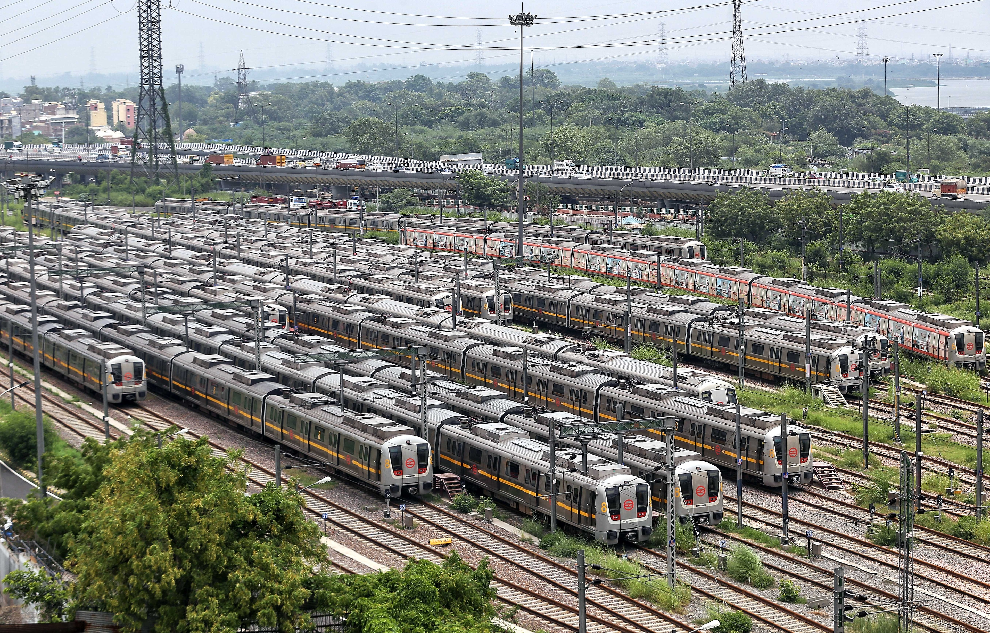 Metro trains parked at a yard as Metro services are suspended following the outbreak of Covid-19 pandemic in New Delhi on Thursday. Photo: ANI