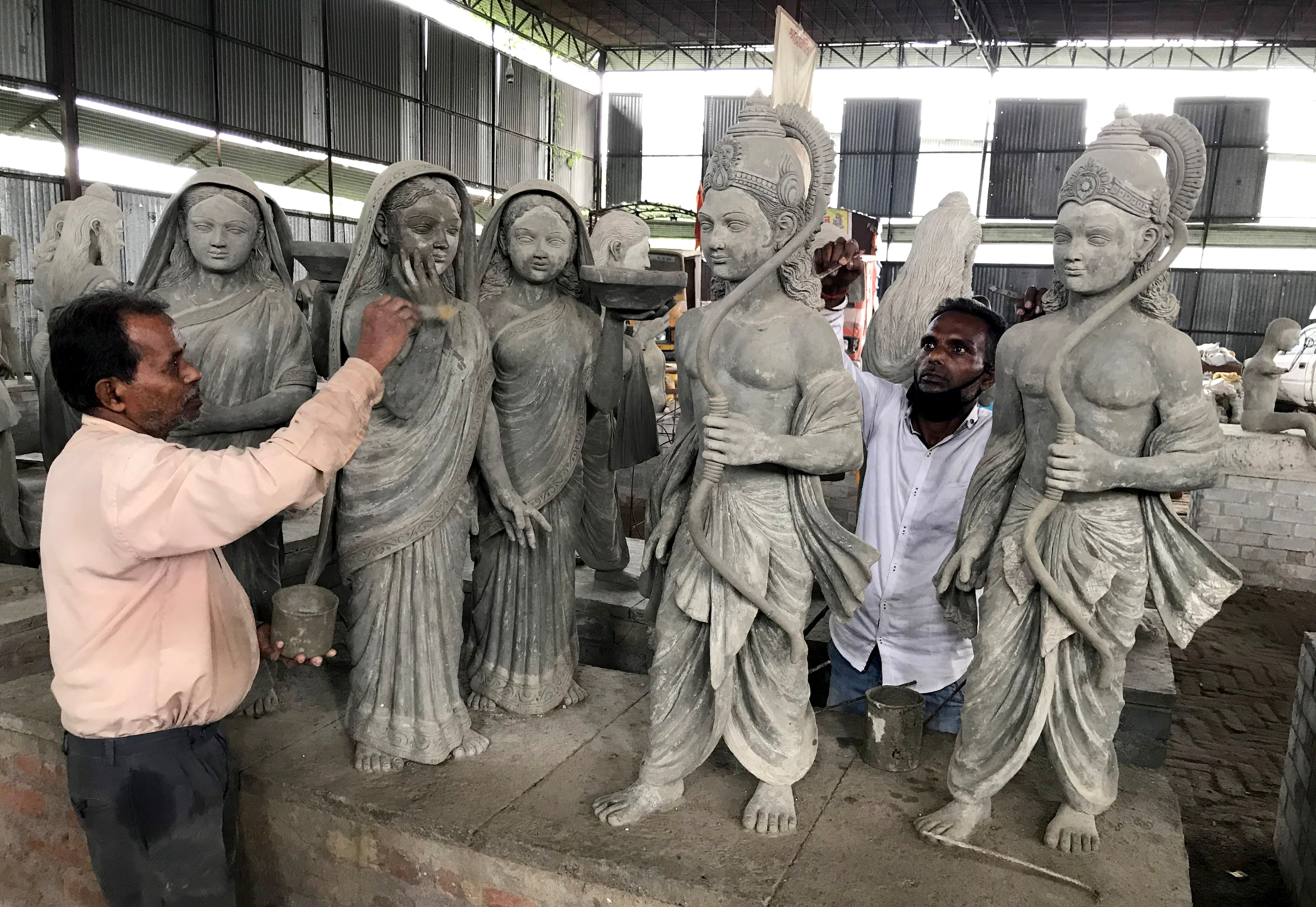 Artists giving final touches the idol of Lord Ram for proposed Ram temple premises at a workshop in Ayodhya on Monday. These idols will be the part of the proposed Ram temple, foundation stone laying ceremony will be on August 5th by PM Modi.