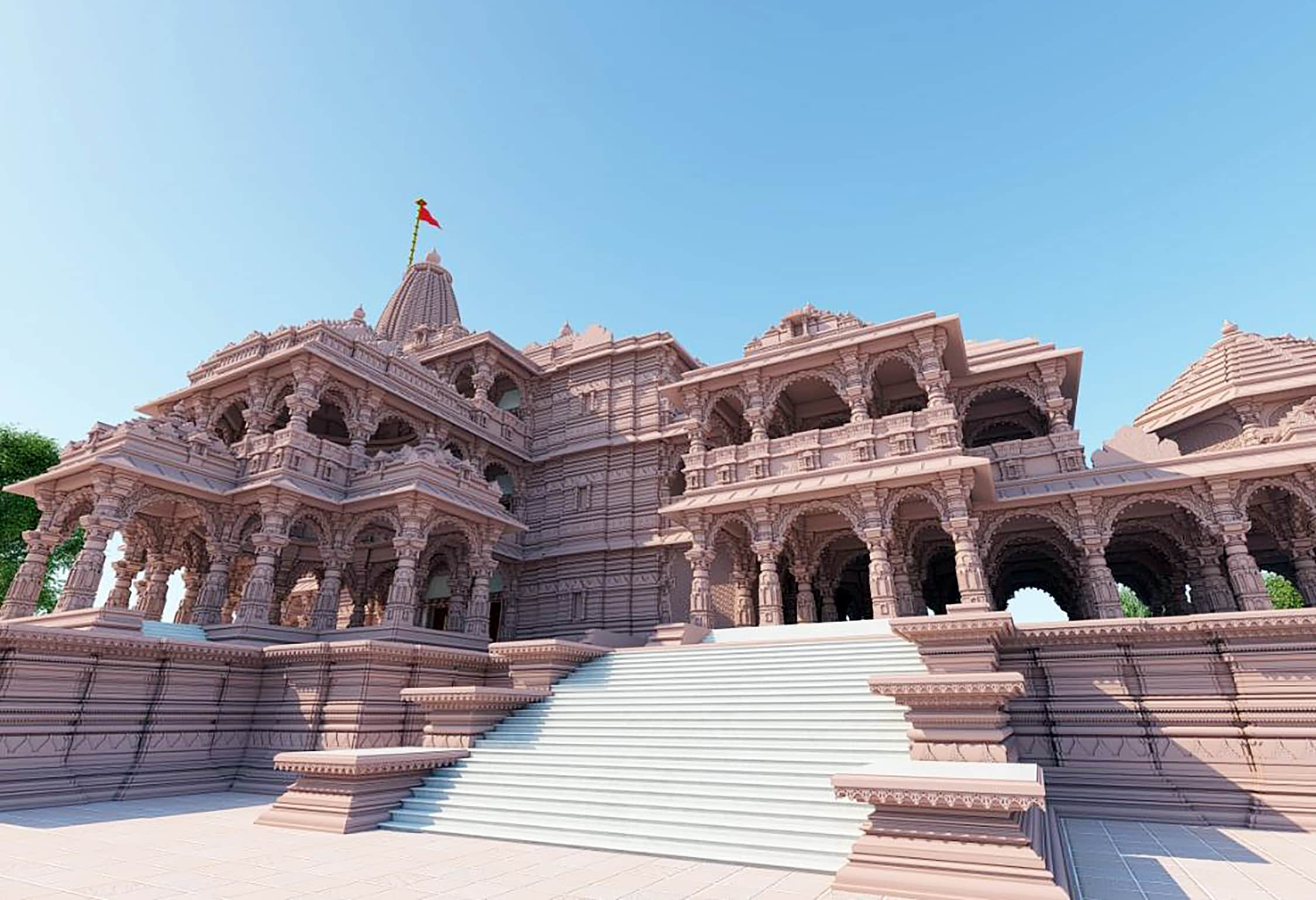 The proposed model of the Ram Temple in Ayodhya on Tuesday.