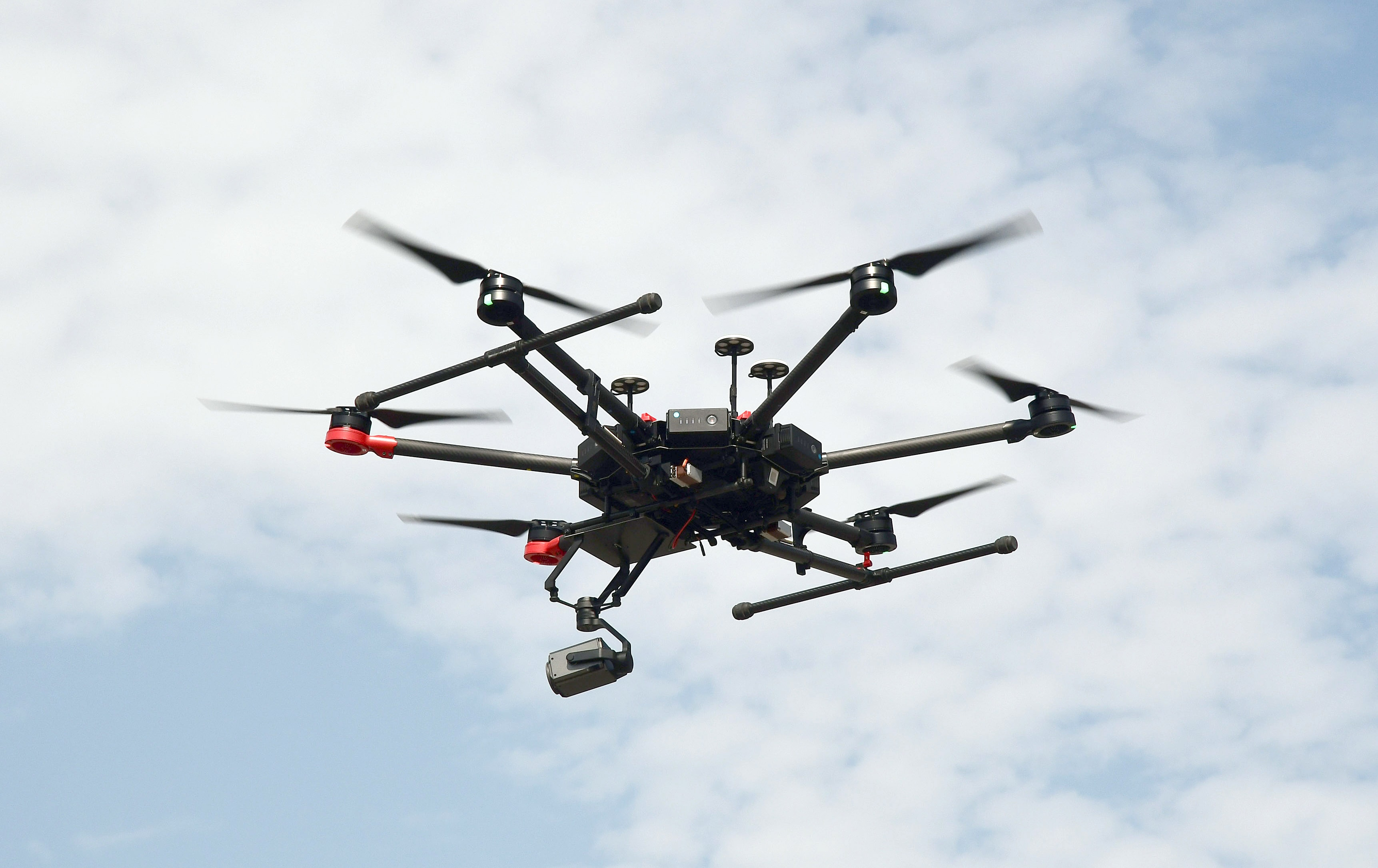 Special Operation Group using the drones to monitor the situation during a curfew imposed by the administration, in Srinagar on Tuesday.