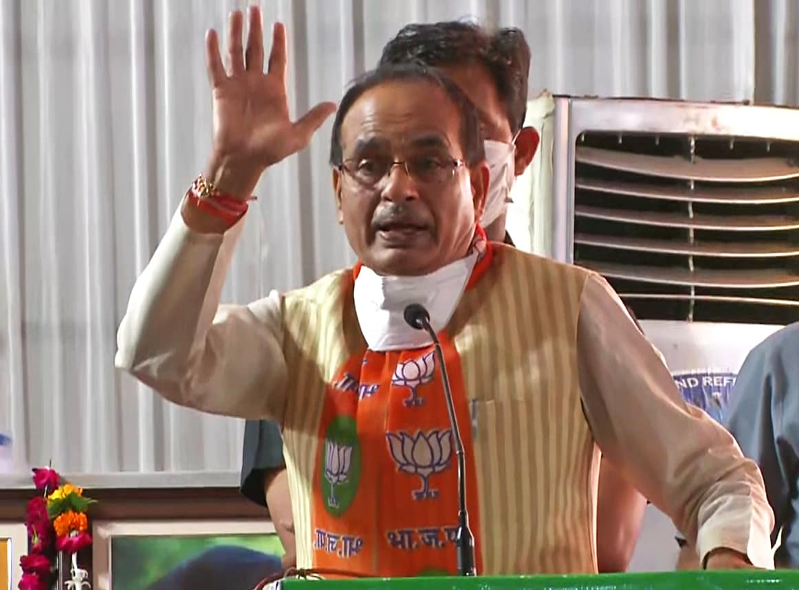 Madhya Pradesh Chief Minister Shivraj Singh Chouhan addresses during a BJP event in Gwalior.