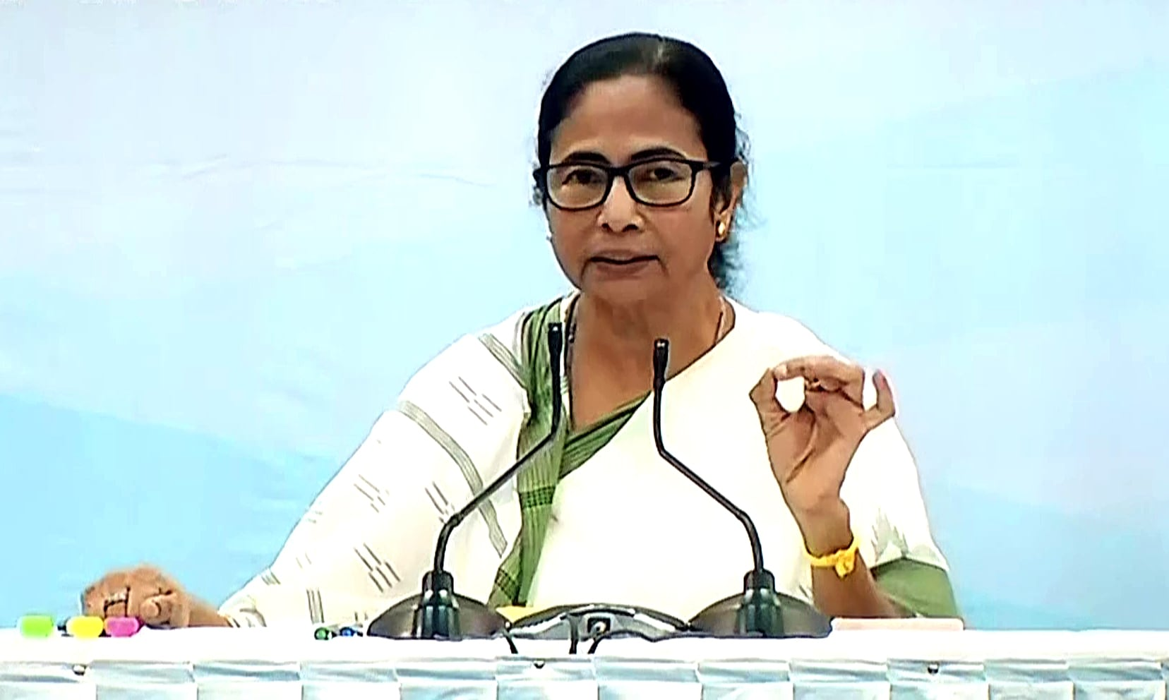 West Bengal CM Mamata Banerjee speaks during a meeting, in Kolkata.