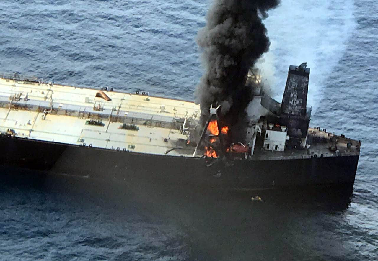 A fire broke out on a supertanker carrying 2 million barrels of oil in the Indian Ocean on Thursday