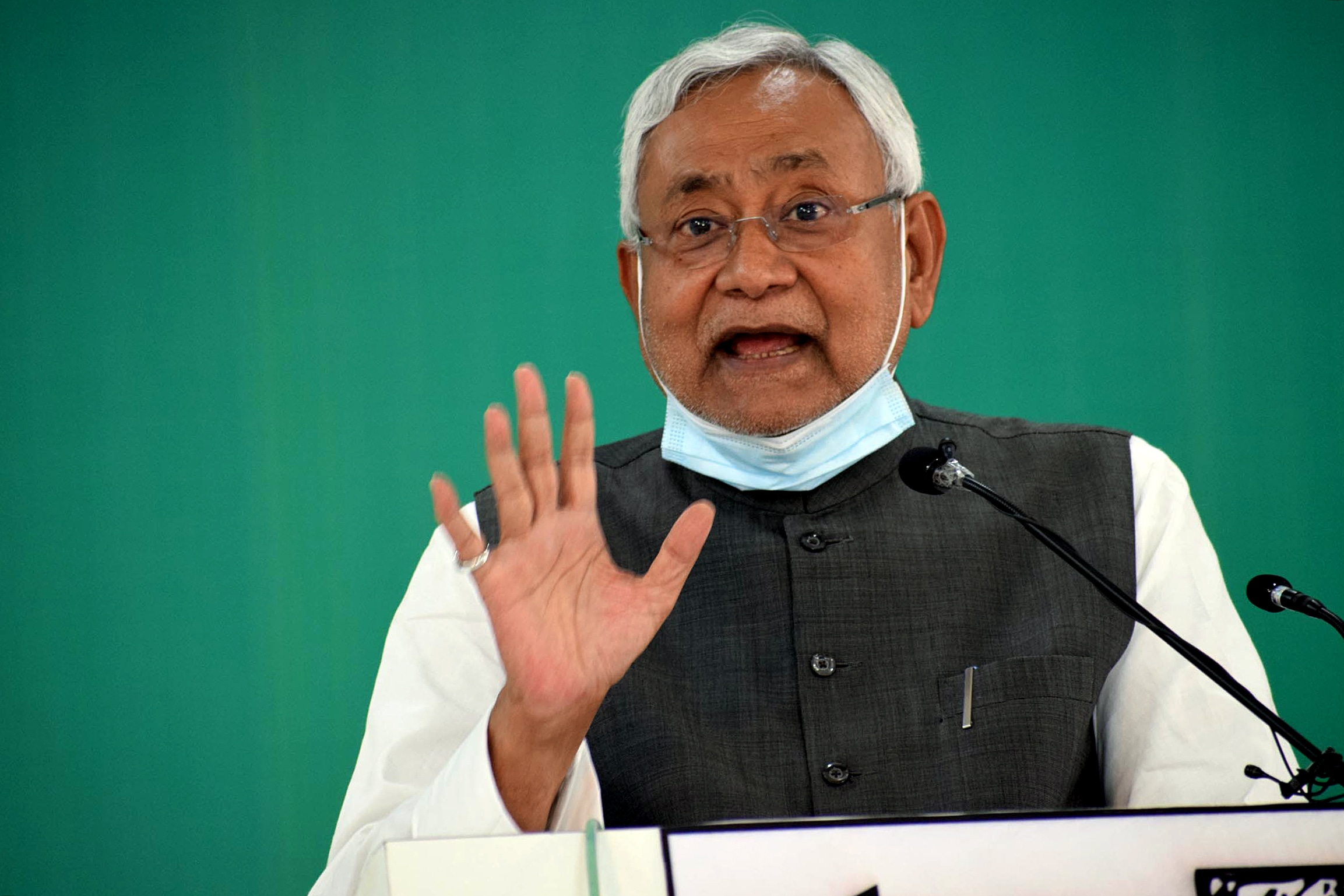 Bihar Chief Minister Nitish Kumar addresses a virtual rally at the JD-U office, in Patna..