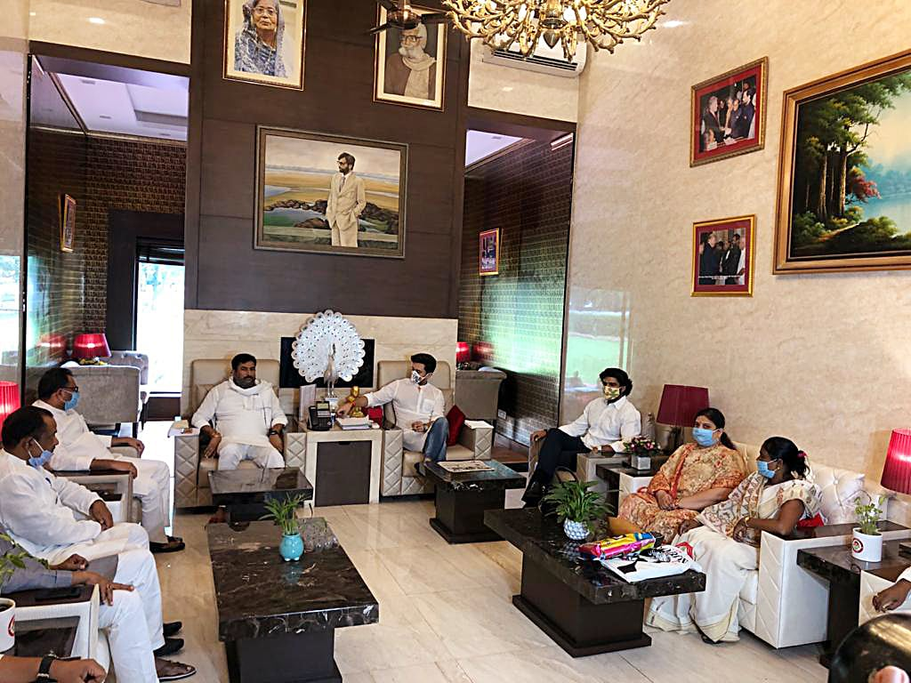 President of Lok Janshakti Party Chirag Paswan with other party members attending the meet to discuss the Bihar election, in Patna.