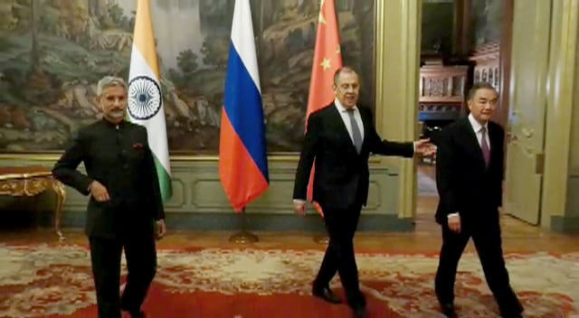 External Affairs Minister Dr S Jaishankar in a photograph with his Russian and Chinese counterpart Sergei Lavrov (C) and Wang Yi (R) during the meeting of the Foreign Ministers of the Shanghai Cooperation Organization, in Moscow.