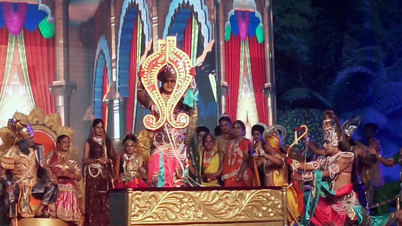 Artists perform Ramlila during the Navaratri festival, in Ayodhya on Tuesday.