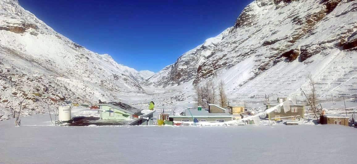 A scenic view of Lahaul Spiti after snowfall