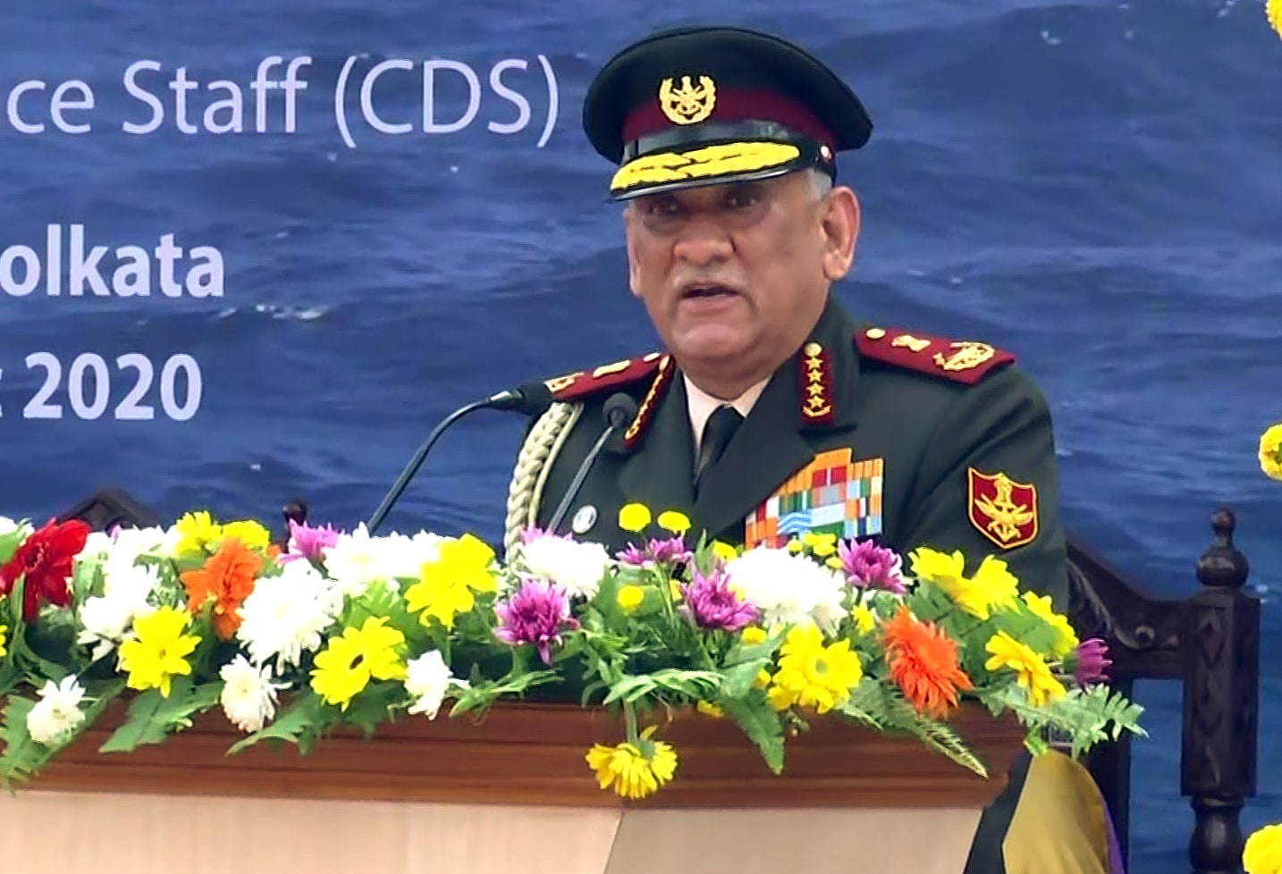 Chief of Defence Staff General Bipin Rawat addresses during the launch of Project 17A Stealth Frigate 'INS Himgiri', in Kolkata on Monday.