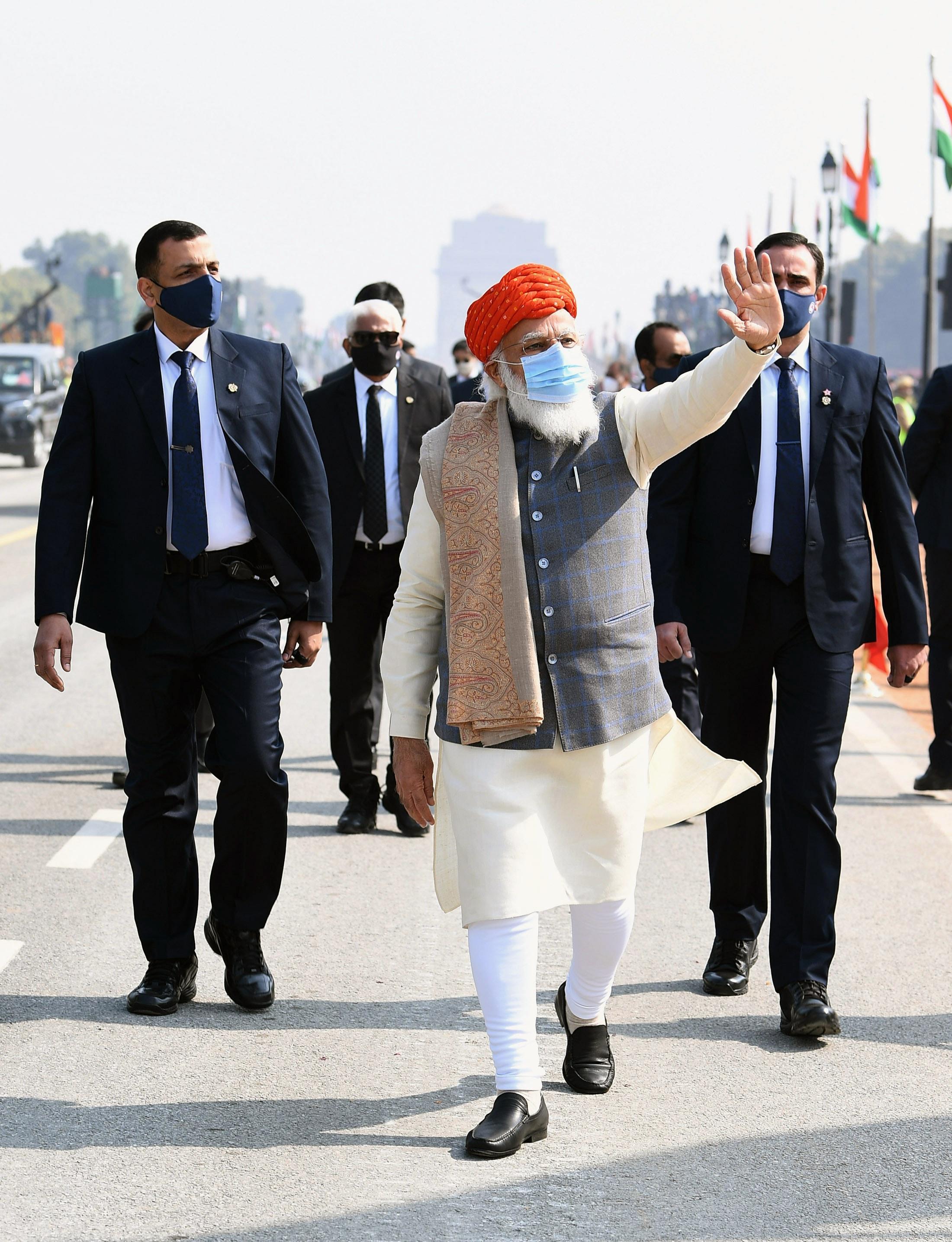 Prime Minister Narendra Modi at Rajpath during the 72nd Republic Day Celebrations in New Delhi