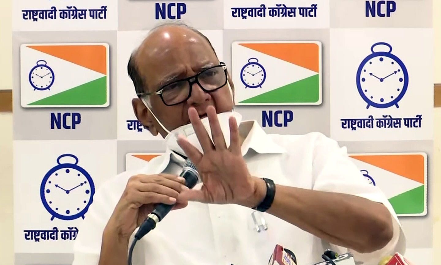 NCP Chief Sharad Pawar addressing a press conference in Mumbai
