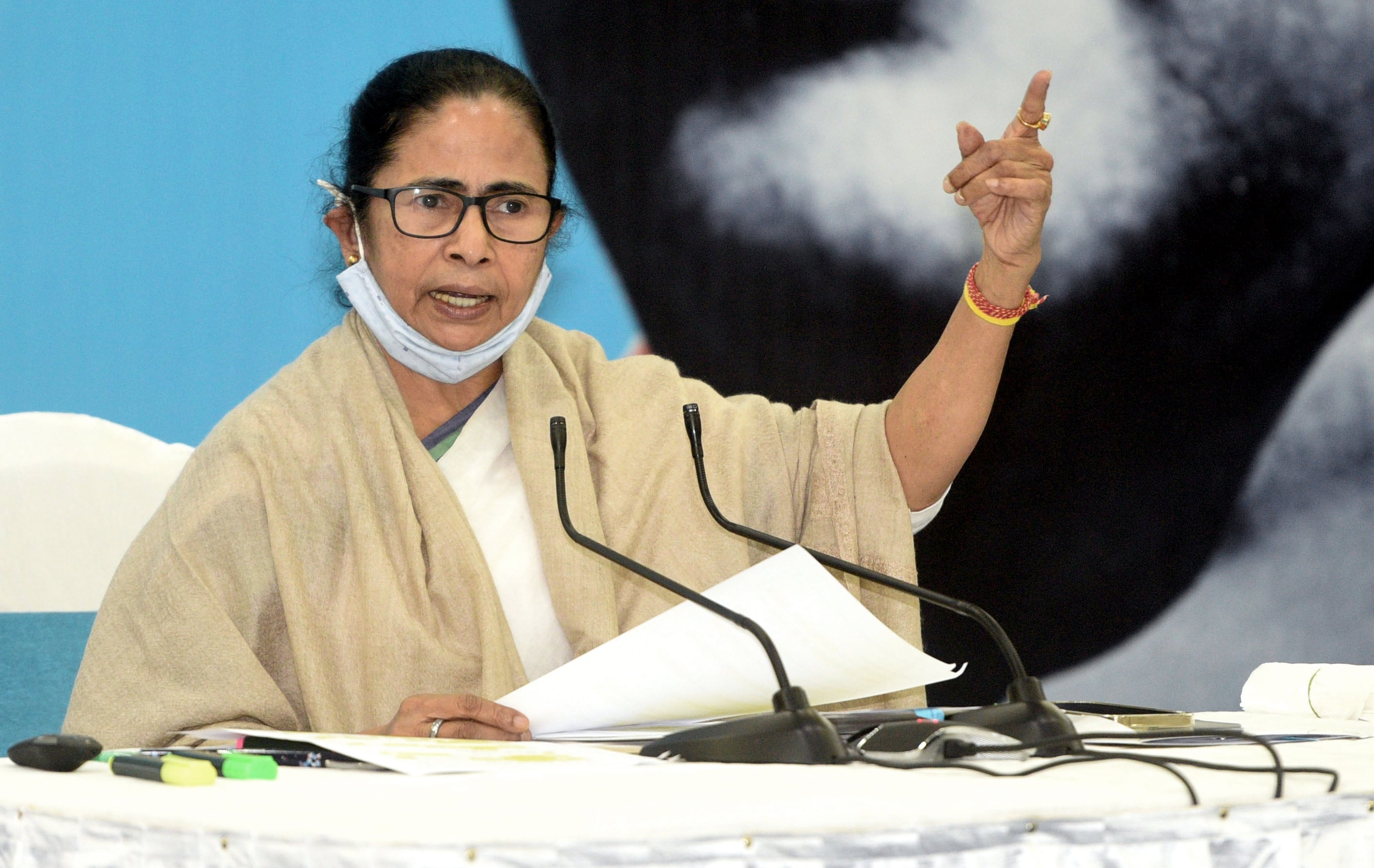 West Bengal Chief Minister Mamata Banerjee addresses during a press conference, in Kolkata