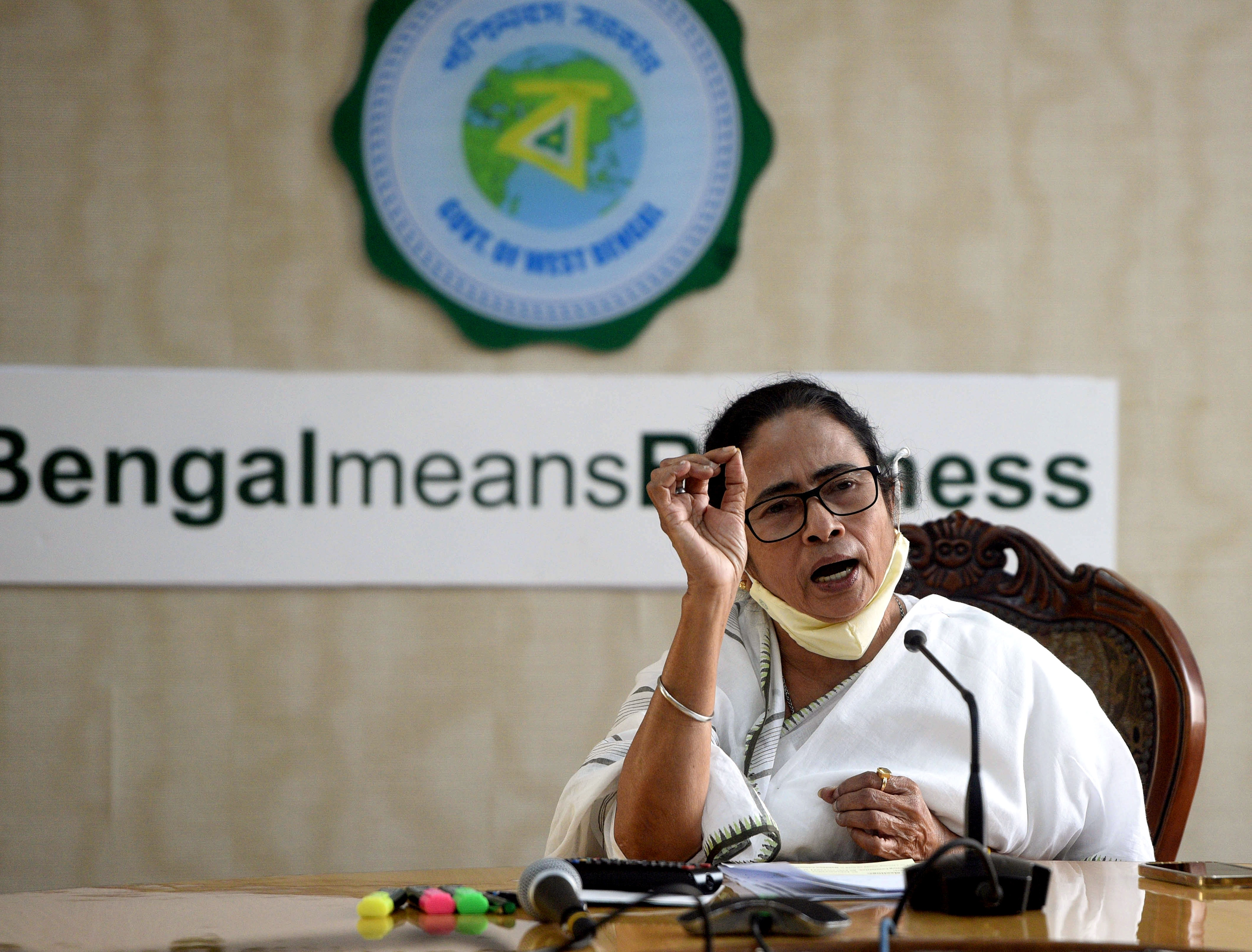 West Bengal Chief Minister Mamata Banerjee addresses media at her office in Howrah