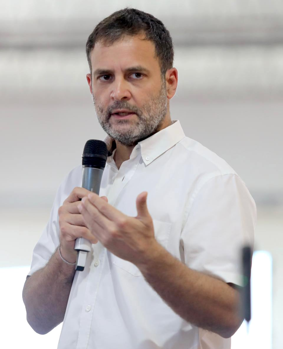 Congress leader Rahul Gandhi interacts with representatives of MSME at Suguna Auditorium, Nehru Nagar, in Kalapatti