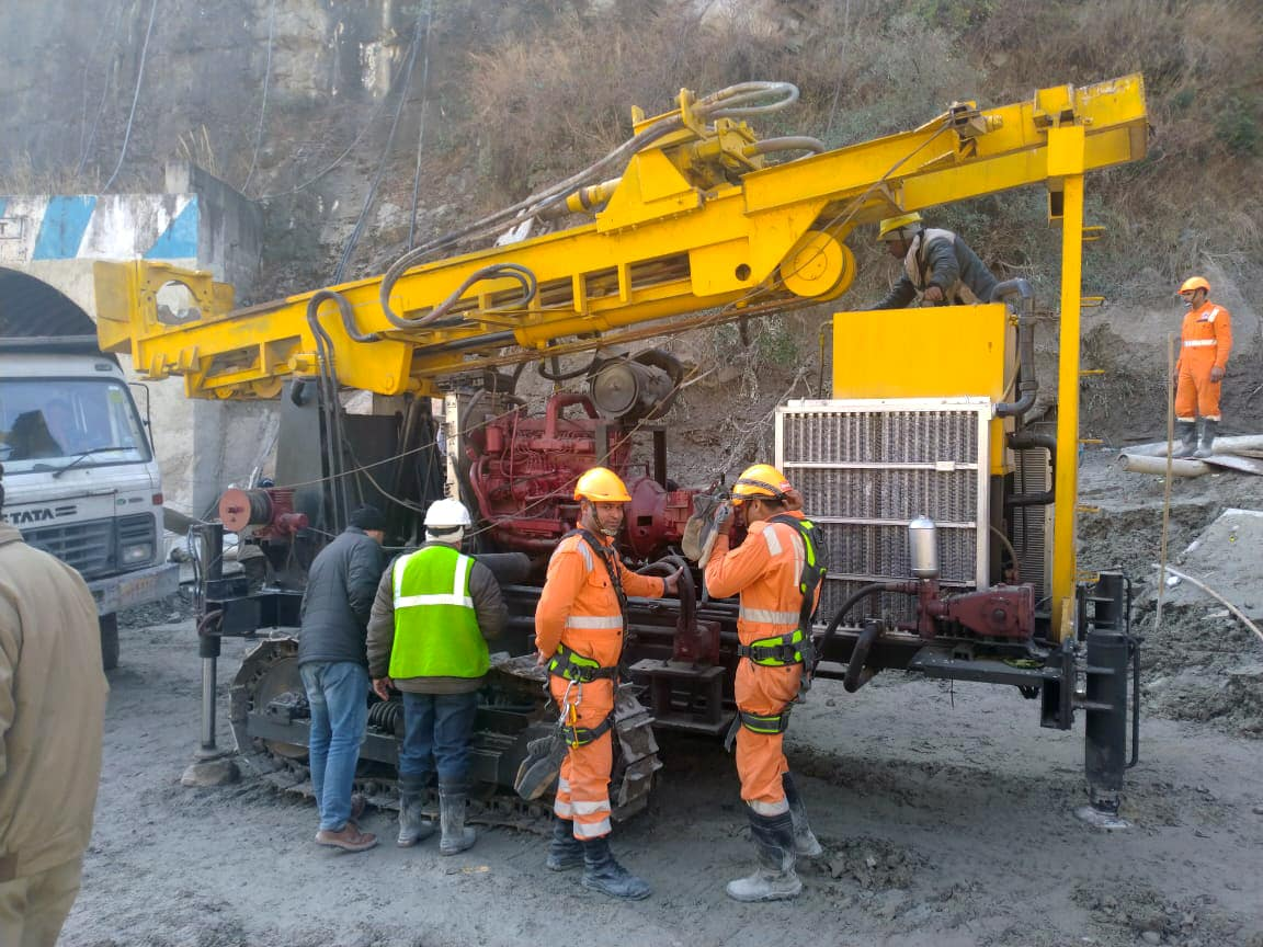 A new machine has been brought to Tapovan tunnel to carry out further drilling, at Joshimath in Chamoli district on Saturday.