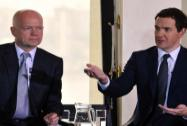 William Hague, George Osborne speak during a meet