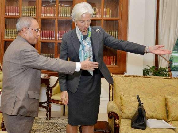 Christine Lagarde, Narendra Modi, Pranab Mukherjee, Arun Jaitley