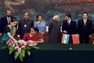 Foreign Secretary Sujatha Singh signs an MoU