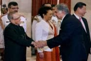 Pranab Mukherjee shakes hands with Ratan Tata