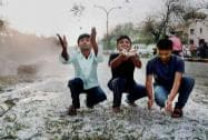 Heavy hailstorm in Nagpur