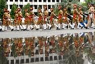 Policemen participate in I-Day celebrations