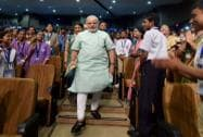Modi walks among school students