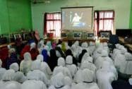 School girls in Karad watch Modi's speech