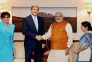 Modi with Kerry, Pritzker and Sushma Swaraj