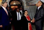 Obama greets Sushma Swaraj