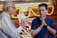 Sonia Gandhi with BJP leader LK Advani