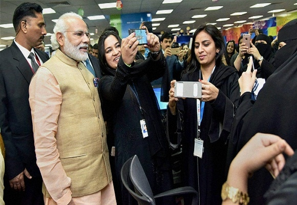 Narendra Modi, Saudi Arabia,  L&T, TCS, A M Nayak,  N Chandrasekaran, Cyrus Mistry, All Women TCS IT Centre, Selfie, Women Employees, Indian Workers, Riyadh