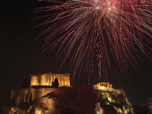 Fireworks at Parthenon temple