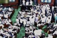 Opposition members raise slogans