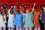 Narendra Modi at a rally in Baleswar, Odisha