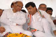 Sharad Pawar with former Maharashtra CM Ashok Chavan at a rally in Nanded